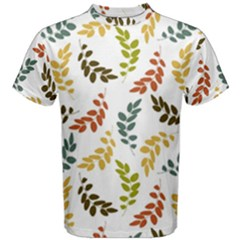 Colorful Leaves Seamless Wallpaper Pattern Background Men s Cotton Tee