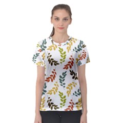 Colorful Leaves Seamless Wallpaper Pattern Background Women s Sport Mesh Tee