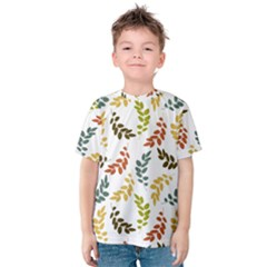 Colorful Leaves Seamless Wallpaper Pattern Background Kids  Cotton Tee