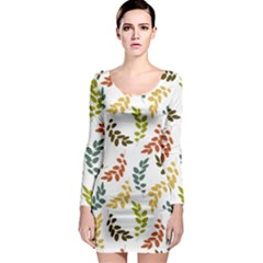 Colorful Leaves Seamless Wallpaper Pattern Background Long Sleeve Bodycon Dress