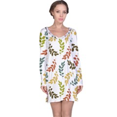 Colorful Leaves Seamless Wallpaper Pattern Background Long Sleeve Nightdress