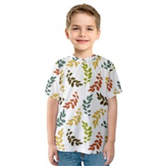 Colorful Leaves Seamless Wallpaper Pattern Background Kids  Sport Mesh Tee