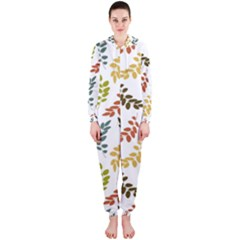 Colorful Leaves Seamless Wallpaper Pattern Background Hooded Jumpsuit (ladies)