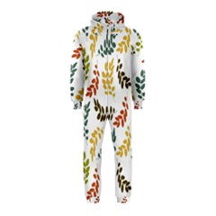 Colorful Leaves Seamless Wallpaper Pattern Background Hooded Jumpsuit (Kids)