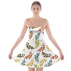Colorful Leaves Seamless Wallpaper Pattern Background Strapless Bra Top Dress
