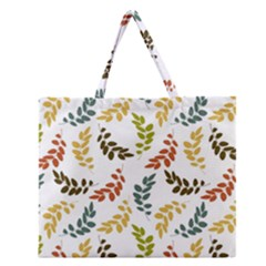 Colorful Leaves Seamless Wallpaper Pattern Background Zipper Large Tote Bag