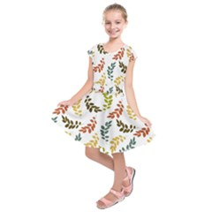 Colorful Leaves Seamless Wallpaper Pattern Background Kids  Short Sleeve Dress