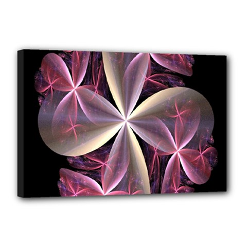 Pink And Cream Fractal Image Of Flower With Kisses Canvas 18  X 12