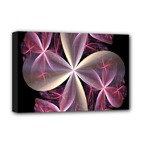 Pink And Cream Fractal Image Of Flower With Kisses Deluxe Canvas 18  X 12