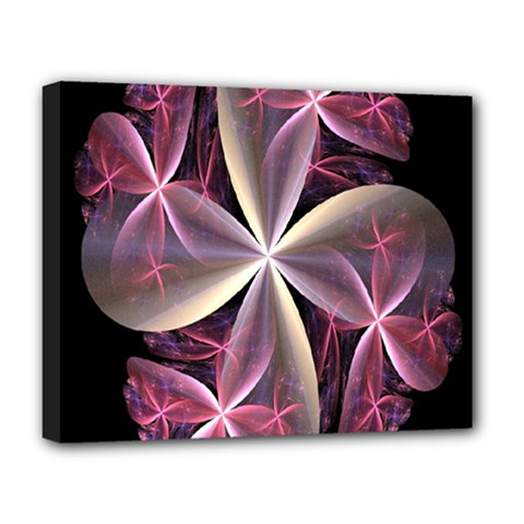 Pink And Cream Fractal Image Of Flower With Kisses Deluxe Canvas 20  x 16