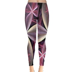 Pink And Cream Fractal Image Of Flower With Kisses Leggings