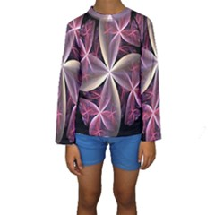 Pink And Cream Fractal Image Of Flower With Kisses Kids  Long Sleeve Swimwear