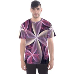 Pink And Cream Fractal Image Of Flower With Kisses Men s Sport Mesh Tee