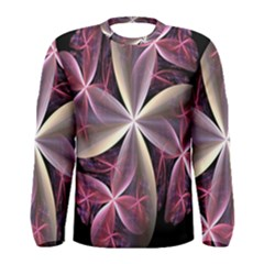 Pink And Cream Fractal Image Of Flower With Kisses Men s Long Sleeve Tee