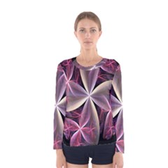 Pink And Cream Fractal Image Of Flower With Kisses Women s Long Sleeve Tee