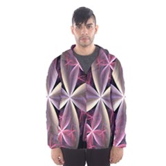 Pink And Cream Fractal Image Of Flower With Kisses Hooded Wind Breaker (men)