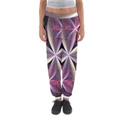 Pink And Cream Fractal Image Of Flower With Kisses Women s Jogger Sweatpants