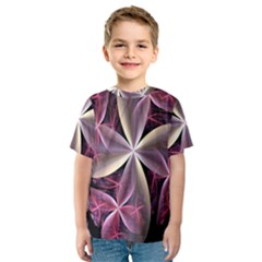 Pink And Cream Fractal Image Of Flower With Kisses Kids  Sport Mesh Tee