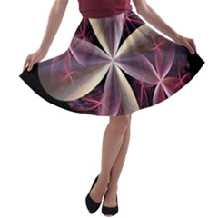 Pink And Cream Fractal Image Of Flower With Kisses A Line Skater Skirt