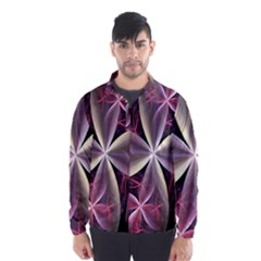 Pink And Cream Fractal Image Of Flower With Kisses Wind Breaker (men)