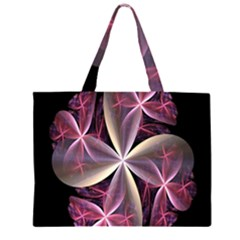 Pink And Cream Fractal Image Of Flower With Kisses Large Tote Bag