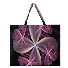 Pink And Cream Fractal Image Of Flower With Kisses Zipper Large Tote Bag