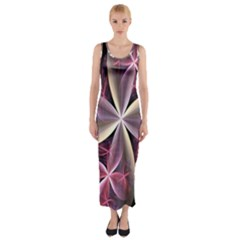 Pink And Cream Fractal Image Of Flower With Kisses Fitted Maxi Dress