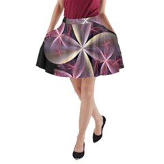 Pink And Cream Fractal Image Of Flower With Kisses A Line Pocket Skirt