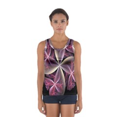 Pink And Cream Fractal Image Of Flower With Kisses Women s Sport Tank Top