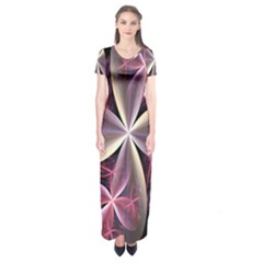 Pink And Cream Fractal Image Of Flower With Kisses Short Sleeve Maxi Dress