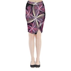 Pink And Cream Fractal Image Of Flower With Kisses Midi Wrap Pencil Skirt