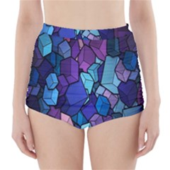 Cubes Vector Art Background High-Waisted Bikini Bottoms