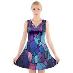 Cubes Vector Art Background V Neck Sleeveless Skater Dress