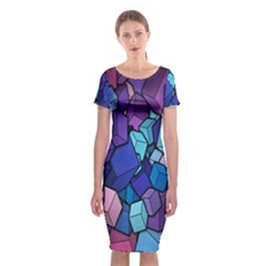 Cubes Vector Art Background Classic Short Sleeve Midi Dress