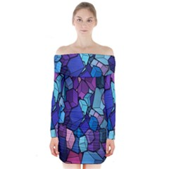 Cubes Vector Art Background Long Sleeve Off Shoulder Dress