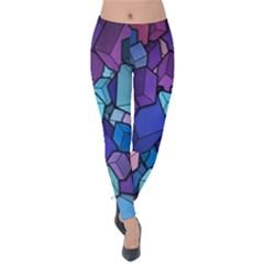 Cubes Vector Art Background Velvet Leggings