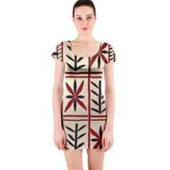 Abstract A Colorful Modern Illustration Pattern Short Sleeve Bodycon Dress