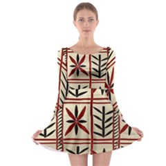 Abstract A Colorful Modern Illustration Pattern Long Sleeve Skater Dress