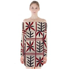 Abstract A Colorful Modern Illustration Pattern Long Sleeve Off Shoulder Dress