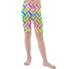 Abstract Pattern Colorful Wallpaper Background Kids  Mid Length Swim Shorts