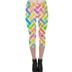 Abstract Pattern Colorful Wallpaper Background Capri Leggings