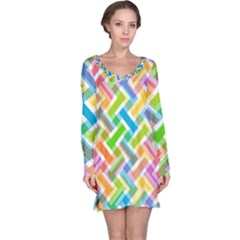 Abstract Pattern Colorful Wallpaper Background Long Sleeve Nightdress