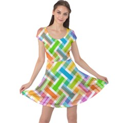 Abstract Pattern Colorful Wallpaper Background Cap Sleeve Dresses