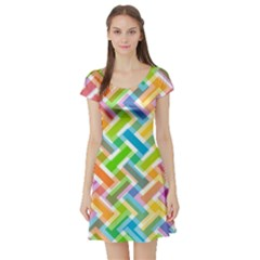 Abstract Pattern Colorful Wallpaper Background Short Sleeve Skater Dress