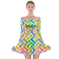 Abstract Pattern Colorful Wallpaper Background Long Sleeve Skater Dress