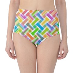 Abstract Pattern Colorful Wallpaper Background High Waist Bikini Bottoms