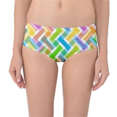 Abstract Pattern Colorful Wallpaper Background Mid-Waist Bikini Bottoms