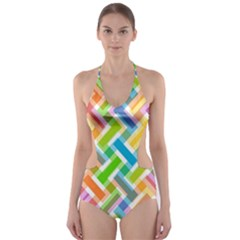 Abstract Pattern Colorful Wallpaper Background Cut-Out One Piece Swimsuit