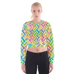Abstract Pattern Colorful Wallpaper Background Women s Cropped Sweatshirt