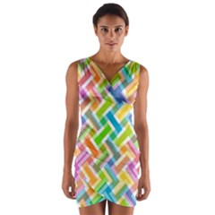 Abstract Pattern Colorful Wallpaper Background Wrap Front Bodycon Dress